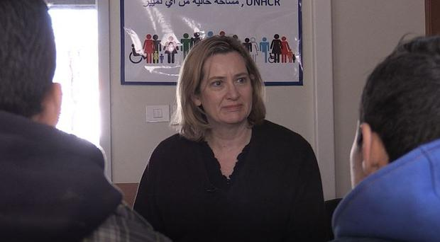 Amber Rudd speaks to Syrian refugees in Lebanon (David Wilcock/PA)