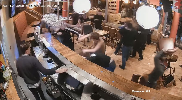 A pub brawl in Leeds (West Yorkshire Police screengrab/PA)