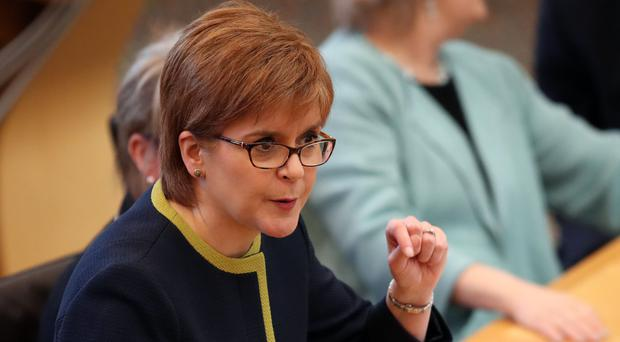 Nicola Sturgeon at First Minister's Questions at Holyrood