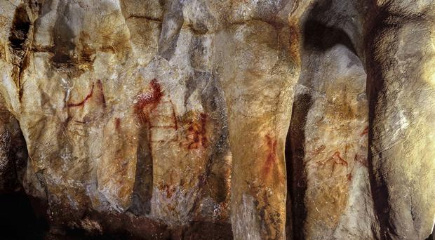 Neanderthals painted this ladder-shaped symbol in a Spanish cave more than 64,000 years ago. (P. Saura/PA)