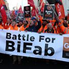 Workers from BiFab marched through Edinburgh last year (Andrew Milligan/PA)