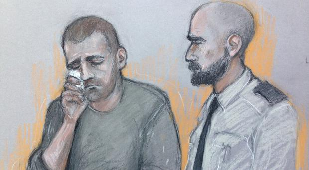Court artist sketch by Elizabeth Cook of Ryszard Masierak, who denies the charges (Elizabeth Cook/PA)