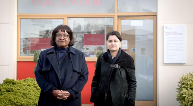 Diane Abbott and Shami Chakrabarti during a visit to Yarl's Wood Immigration detention centre in Bedford (Stefan Rousseau/PA)