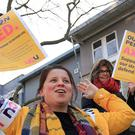 Members of the University and College Union on strike outside the University of Kent campus in Canterbury. (Gareth Fuller/PA)