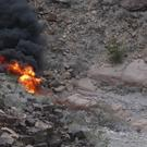 The helicopter was engulfed in flames after the crash