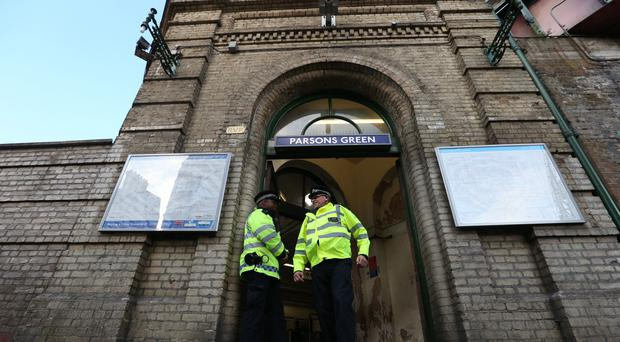 Police at Parsons Green station in west London after a bombing (Jonathan Brady/PA)