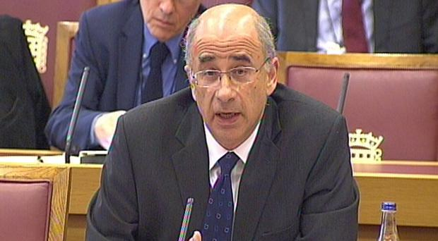 Sir Brian Leveson gives evidence at the House of Lords. (PA)