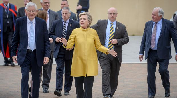 Hillary Clinton on a visit to Wales (Ben Birchall/PA)