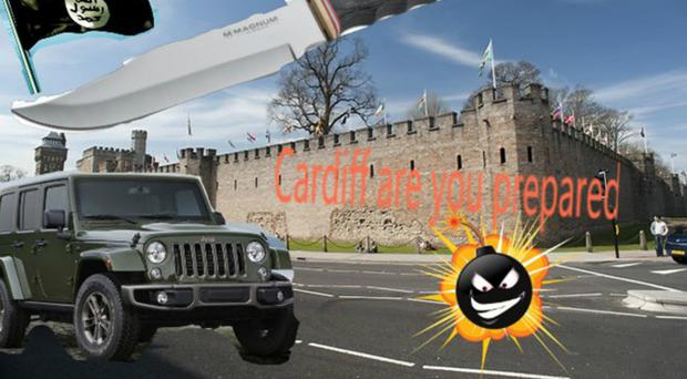 An image of Cardiff Castle with a jeep and knife superimposed from the teenager's Instagram account (CPS/PA)
