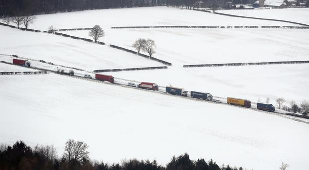Cars and lorries on A1 looking northbound between Morpeth and Alnwick (Owen Humphreys/PA)