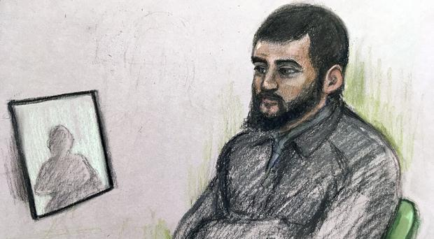 Court artist sketch by Elizabeth Cook of Umar Haque (Elizabeth Cook/PA)