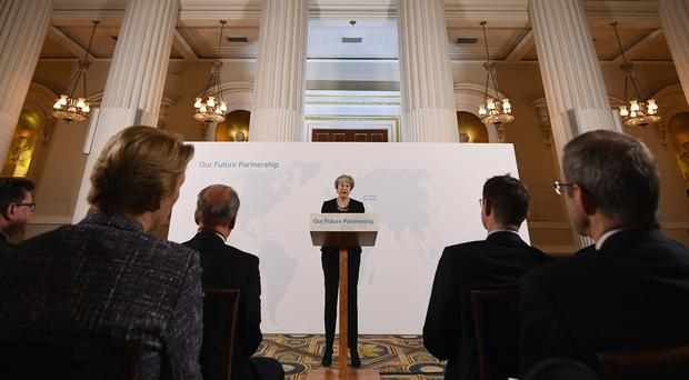 Prime Minister Theresa May delivers a speech at the Mansion House in London on the UK's economic partnership with the EU after Brexit (Leon Neal/PA)