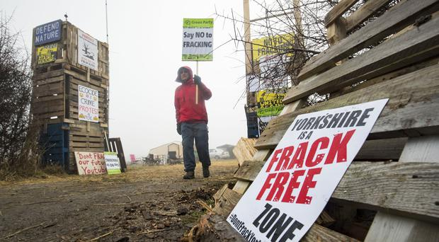 A protester at an anti-fracking camp near Kirby Misperton in Yorkshire (Danny Lawson/PA)