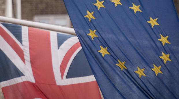 File photo dated 17/2/2016 of the EU and Union flags. (Stefan Rousseau/PA)