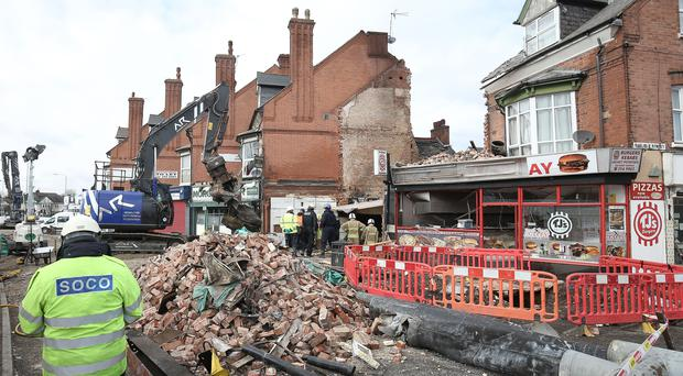 Emergency services at the scene of the blast on Hinckley Road in Leicester (Aaron Chown/PA)