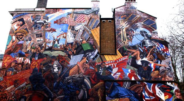 Mural commemorating the Battle of Cable Street is one of many lesser-known memorials across England (Stephen Kelly/PA)
