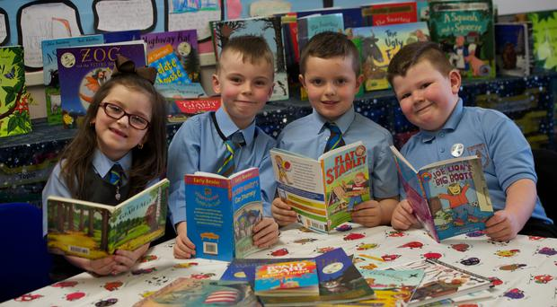 Pupils from St Anthony's Primary School, Johnstone, which has been awarded the UK Literacy Association title of UK Literacy School of the Year (Renfrewshire Council/PA)