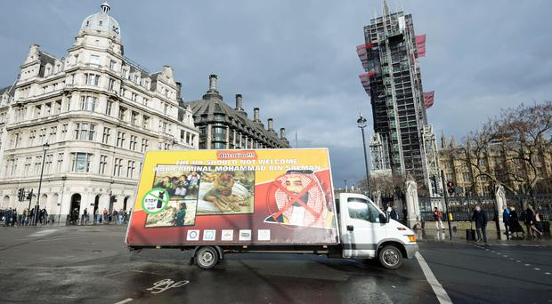 A billboard protesting against an official UK visit by Saudi Arabia's Crown Prince Mohammed bin Salman (Kirsty O'Connor/PA)