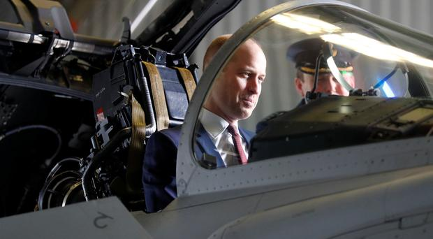 The Duke of Cambridge sits in the cockpit of a Eurofighter Typhoon during a visit to RAF Coningsby (Phil Noble/PA)
