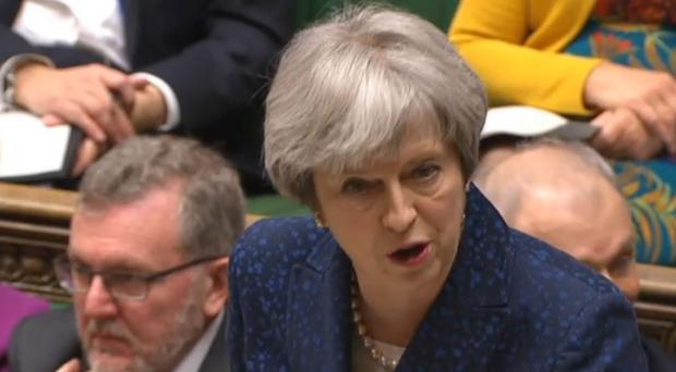 Theresa May during Prime Minister's Questions in the Commons (PA)