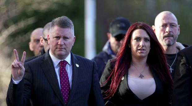 Paul Golding and Jayda Fransen arrive at Folkestone Magistrates' Court (Gareth Fuller/PA)