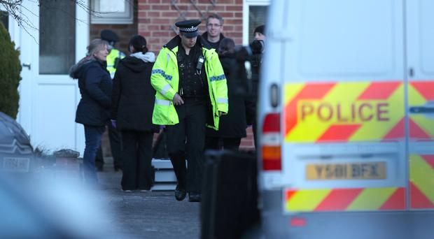 Police activity in the cul-de-sac in Salisbury that contains the home of former Russian double agent Sergei Skripal (Andrew Matthews/PA)