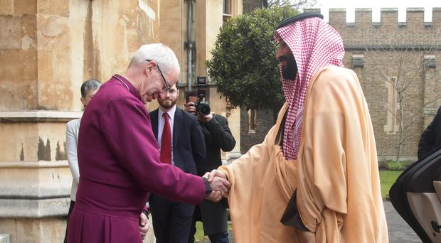 The Archbishop of Canterbury Justin Welby greets the Crown Prince of Saudi Arabia, HRH Mohammed bin Salman, at a private meeting at Lambeth Palace, London (Yui Mok/PA)