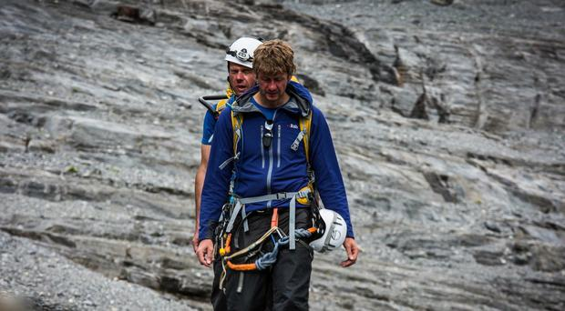 Mark McGowan and John Churcher, behind, on the Eiger (Finalcrux Films)