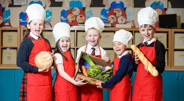 Children from Williamsburgh Primary School are ready for the Paisley Food and Drink Festival (Nick Ponty/ Paisley Food and Drink Festival/PA)