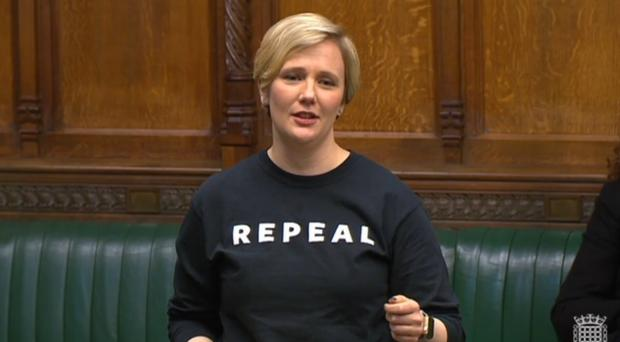 Stella Creasy speaking in the Commons in the debate to mark International Women's Day (Parliament TV)