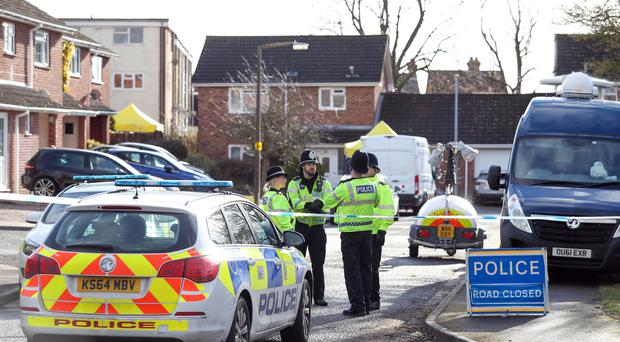 Police activity in a cul-de-sac in Salisbury near to the home of former Russian double agent Sergei Skripal (Andrew Matthews/PA)