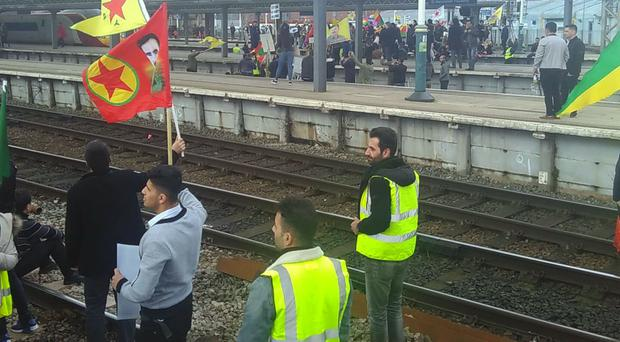Protesters on the tracks at Manchester Piccadilly station (Sophy Colbert/PA)