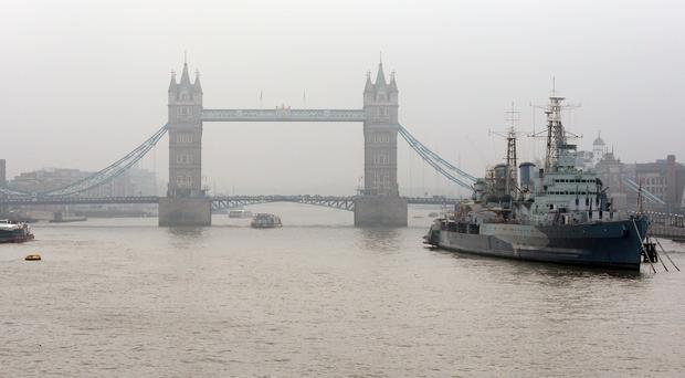 HMS Belfast, permanently moored on the Thames, is celebrating its 80th anniversary (Jonathan Brady/PA)