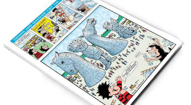 The cartoon was inspired after a visit to the structures by a Beano artist (The Kelpies/Beano Studios/PA)