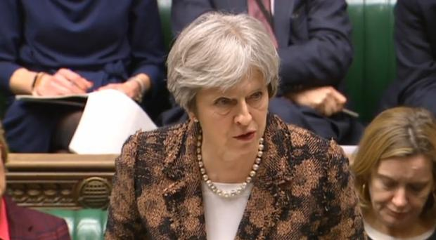 Theresa May used strong rhetoric in her Commons response to the poisoning (PA)
