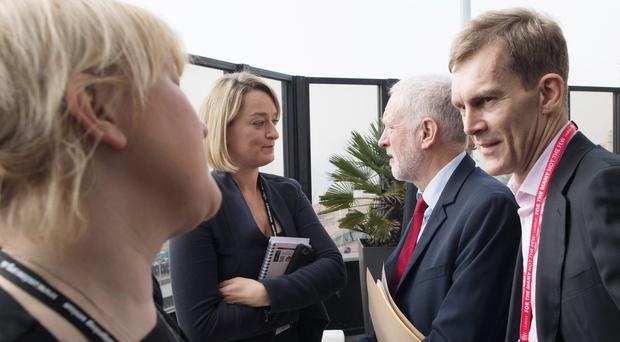 Jeremy Corbyn's spokesman Seumas Milne (right) at the Labour Party annual conference