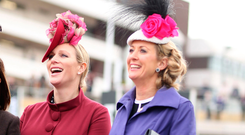 Zara Tindall with (right) Chanelle McCoy, wife of Tony McCoy