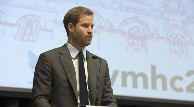 Prince Harry delivers a keynote speech at the annual Veterans' Mental Health Conference at King's College London (Steve Parsons/PA)
