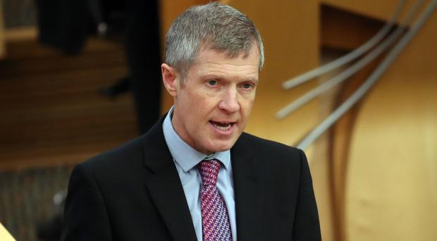 Scottish Liberal Democrats party leader Willie Rennie during FMQs (Jane Barlow/PA)