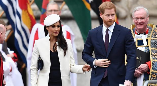 Prince Harry and Meghan Markle, leave following the Commonwealth Service at Westminster Abbey, London (Joe Giddens/PA)