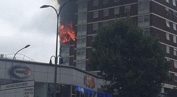 A faulty tumble dryer caused this blaze at a block of flats in London ( Liam Twomey/Twitter/PA)
