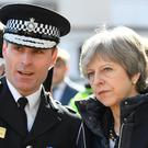 Prime Minister Theresa May, with Wiltshire Police Chief Constable Kier Pritchard, in Salisbury after the nerve agent attack on Russian double agent Sergei Skripal and his daughter Yulia (Toby Melville/PA)