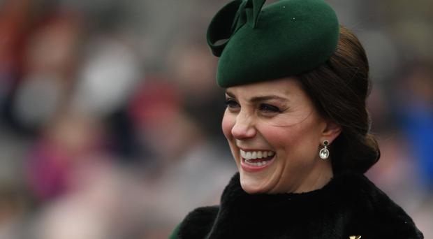 The Duchess of Cambridge attends the regiment's St Patrick's Day parade (Andrew Parsons/Sunday Times/PA)