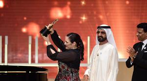 Andria Zafirakou has won the fourth annual Varkey Foundation Global Teacher Prize (Varkey Foundation/PA)