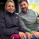 John and Sara Lund spent their wedding night at the Emergency Rest Centre in at Okehampton College (Richard White/PA)