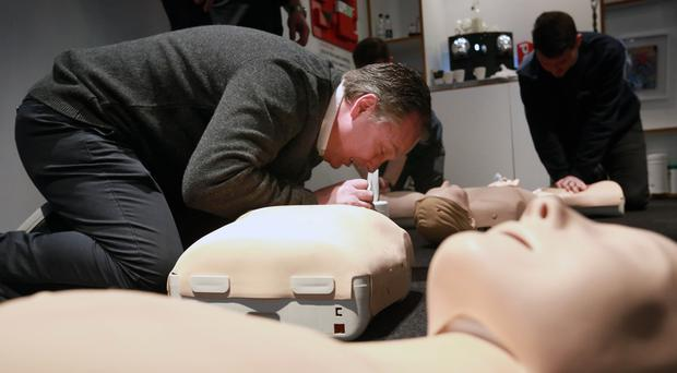 London black cab driver Peter Thompson receives first aid training (Matt Alexander/PA)