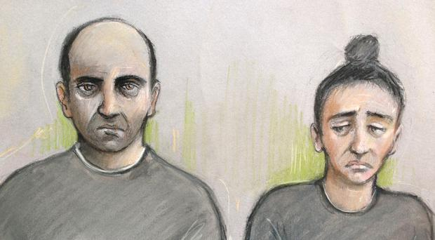 A court artist's sketch of Ouissem Medouni (left) and his partner Sabrina Kouider (Elizabeth Cook/PA)