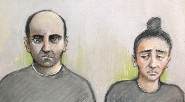 Ouissem Medouni (left), 40, and his partner Sabrina Kouider, 35, deny murdering their French nanny (Elizabeth Cook/PA)