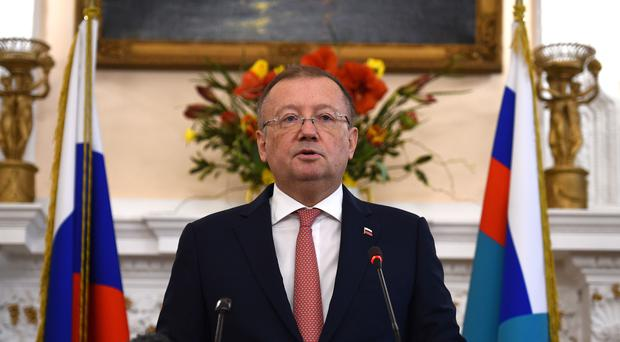 Russian ambassador Alexander Yakovenko speaking at a news conference at his country's embassy in London (Kirsty O'Connor/PA)