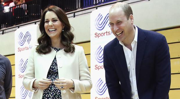 The Duke and Duchess of Cambridge meet wheelchair basketball players during a SportsAid event at the Copper Box in the Olympic Park (Chris Jackson/PA)